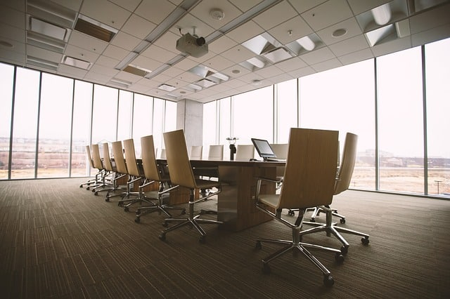 A picture of an empty conference room